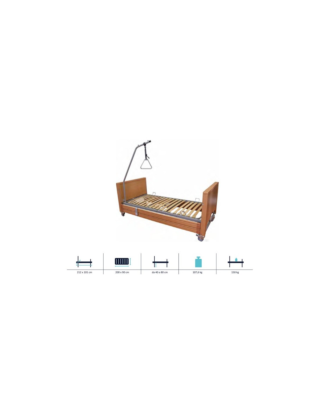 Letto elettrico ad altezza variabile con sponde in legno e alzamalato sanitaria e ortopedia - Letto elettrico per disabili usato ...