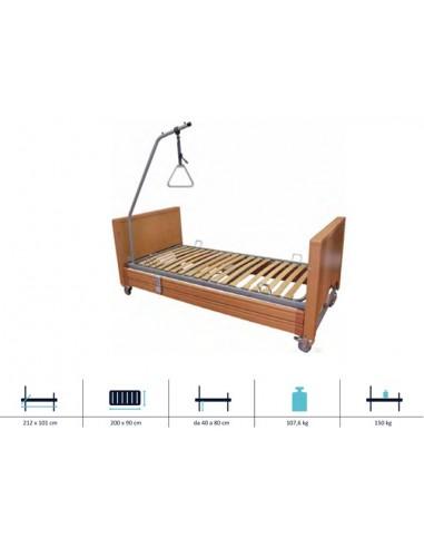 Letto elettrico ad altezza variabile con sponde in legno e alzamalato sanitaria e ortopedia - Letto ortopedico elettrico usato ...