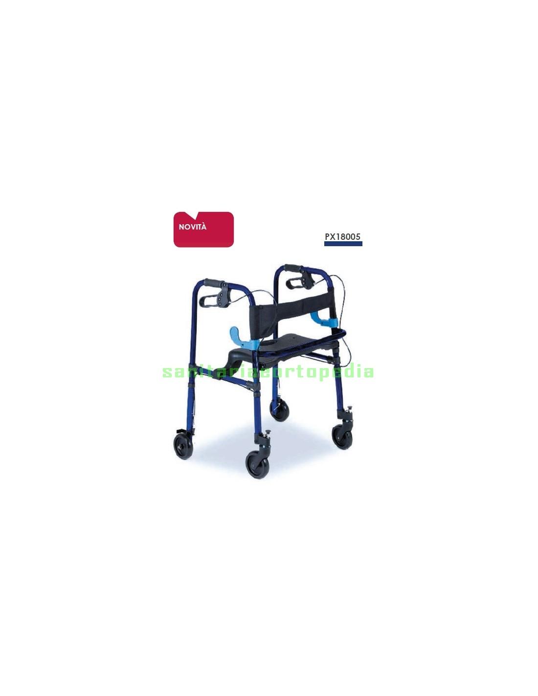 Rollator Pieghevole Alluminio.Deambulatore Rollator Pieghevole In Alluminio Con Sediile Sanitaria E Ortopedia